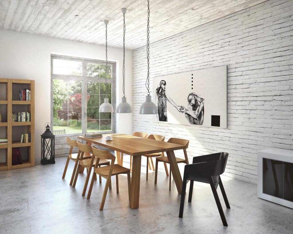 Stół drewniany dębowy w salonie - przykładowa aranżacja.